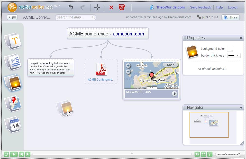 Signos teste SpiderScribe, logiciel de Mind Mapping
